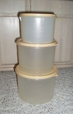 6 Pc Vintage TUPPERWARE Sheer Nesting Canister Set~Wheat Seals~#263, 264, 265