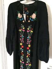 ZARA BOHO BLACK EMBROIDERED MIDI DRESS WITH LONG SLEEVES SIZE M