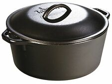 5 Qt Cast Iron Dutch Oven Pre-Seasoned Pot Lid Cookware Kitchen Camp Lodge New