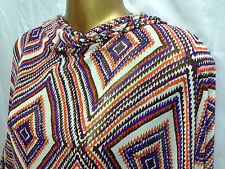 Crinkle chiffon Georgette Diamond Aztec Print Dress/Crafts Fabric* NEW*FREE P&P*