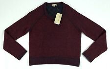 Burberry Brit Red Blue Wool Cashmere Geca Crewneck Sweater M BNWT Authentic $350
