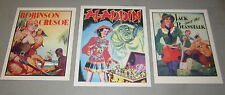 Lot of 3 1930's Pantomime THEATRE Mini POSTERS - Aladdin Robinson Crusoe - Jack