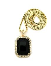 """NEW ICED OUT STONE PENDANT &2mm/30"""" BOX CHAIN HIP HOP NECKLACE - XZ99BX"""