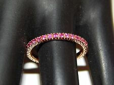3/4 Eternity Band .56 tcw AA+ Ruby Wedding Band 14k Rose Gold Estate Ring