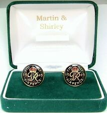 1949 Six pence cufflinks  real coins in Black & Red