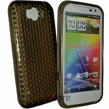 Cover Custodia Per HTC Sensation XL Gel TPU Nero + Pellicola Salva Display LCD