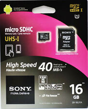 SONY 16GB MicroSD Micro SDHC TF Flash Class 10 Memory Card w/ SD Adapter C10 16G