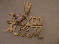 """Beautiful 14k Gold """"I Love You MOM"""" Pendant with Pink Stone"""