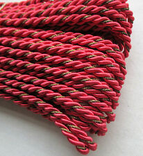 Vintage Scarlet Rope Cording Viscose w/Gold Metallic Accent French