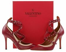 NEW VALENTINO GARAVANI LOVE LATCH ANKLE STRAP LEATHER HEELS PUMPS SHOES 35/US 5