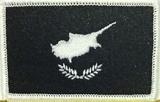 CYPRUS Flag Military Patch With VELCRO® Brand Fastener B & W White Border #28
