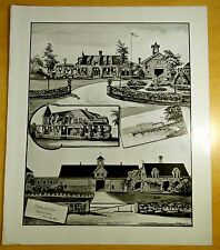 Nestledown Zebley Farm, Weirs, NH 1892 Large Antique Print NEW HAMPSHIRE