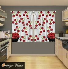 "55"" x 39"" 2-Pc. Red Cherries Kitchen Panels Set Bushel Of Fruits Dinning Decor"