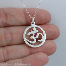 Ohm Necklace - 925 Sterling Silver - *NEW* Namaste Yoga Ohm Jewelry Om Symbol