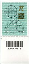 2013 francobollo Anno Archimedeo SX CODICE A BARRE 1553