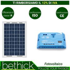 KIT SOLAR PANEL FOTOVOLTAICO 10W 12V CON REGULADOR DE CARGA 5A USB BARCO