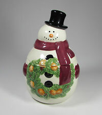 """Mrs. Fields Limited Edition Holiday Cookie Jar 9.5"""" x 6"""" White Snowman Wreath"""