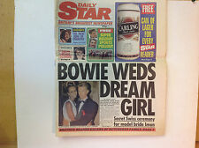 "DAVID BOWIE WEDS DREAM GIRL - ORIGINAL ""DAILY STAR""  COVER STORY (4th May 1992)"