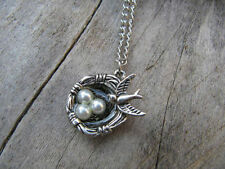 Antique silver bird nest pendant Lariat Necklace,bird's nest pearl egg necklace!