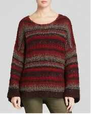 Free People New Slouchy Striped pullover sweater top NWT $128 Rich Berry size S