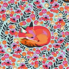 CHIPPER Fox Nap PALE AQUA Fabric FQ TULA PINK Woodland FOXES Quilting QUILT