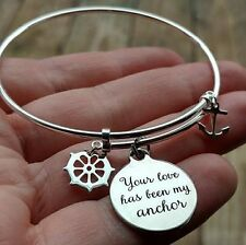 Pure Solid Sterling Silver Your Love is My Anchor Charm Bangle Bracelet for Gift