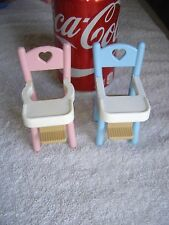 Fisher Price Dollhouse Pink Blue Twin Baby High Chair Lot 2 Heart Back 1993