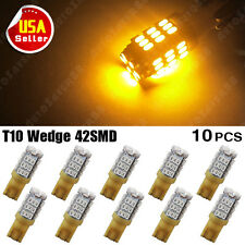 10X Amber/Yellow T10 W5W 168 192 194 42SMD LED Wedge Side Interior Light Bulb