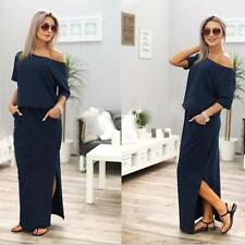 Women One Shoulder Summer Split Long Maxi Ladies Party Prom Beach Casual Dresses