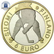 Finlandia 5 euros moneda 2012 pp hockey WM 2012, Estocolmo en coincard