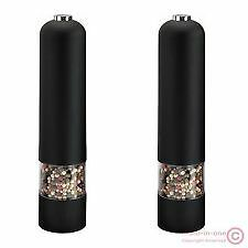 2X BLACK STAINLESS STEEL ELECTRIC SALT AND PEPPER MILLS GRINDERS KITCHEN TOOL