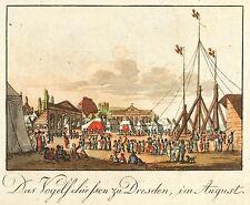 DRESDEN - PIRNAISCHE VORSTADT - VOGELSCHIESSEN - kolor. Umrissradierung 1809-16