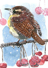 ACEO print of an ACEO original watercolor- Winter charm, Wren, Christmas gift