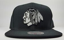 Chicago Blackhawks Mitchell & Ness Black Solid Wool White Logo Snapback Hat NHL