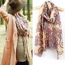 Womens Ladies Soft Long Chiffon Scarf Wrap Large Silk Winter Shawl Stole Scarves