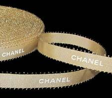 "100% Authentic Chanel Gold White Lettering Picot Feather Edge Ribbon 1/2""W"