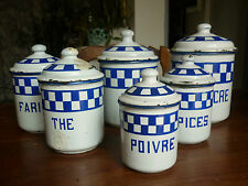 ANCIENNE SERIE 6 POTS A EPICES EMAILLEE