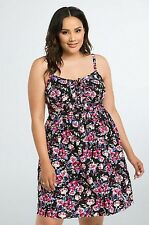 NWT Torrid Plus Size 4X Floral Lace Up Sundress Black (UU18)