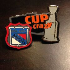 NHL New York Rangers Shield Logo Cup Crazy Pin, Badge, Lapel, Hockey