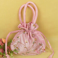 New china style pink Satin Embroidery Cosmetics Makeup Bag Pouch Pockets