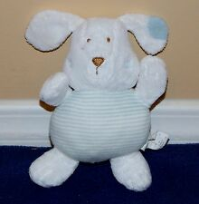 "6"" The Children's Place Baby White w/ Blue Stripes Plush Puppy Dog Lovey"