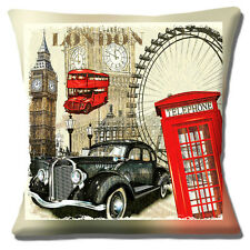 "NEW LONDON ICONS BIG BEN LONDON EYE TELEPHONE BOX BUS 16"" Pillow Cushion Cover"