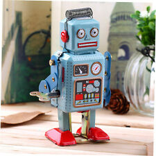 Vintage Mechanical Clockwork Wind Up Metal Walking Robot Tin Toy Kids Gift FBT