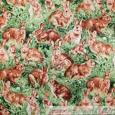 BonEful Fabric FQ Cotton Quilt Green Grass Brown Easter Bunny Spring Flower Leaf