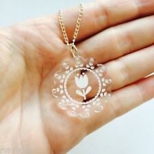 FLOWER NECKLACE -Laser Acrylic Dolly Scalloped Jewellery Quirky Whimsical