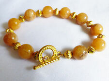 "Yellow Jade Round stone beads toggle yellow tone metal clasp bracelet 8.75""L"
