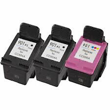 2XHP901XL Black+HP901 Color Reman Ink Cart 122% More Ink Officejet 4500 J4524