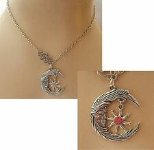 Silver Moon Face & Sun Pendant Necklace Jewelry Handmade NEW Chain Adjustable