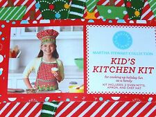 Martha Stewart Collection Kid's Kitchen Kit -2 Oven Mitts, Apron, Chef's Hat NWT