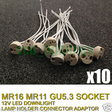 10X MR16 12V LED DOWNLIGHT LAMP HOLDER SOCKET HALOGEN CONNECTOR CONNECTION